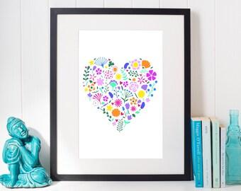 Bright floral heart wall art – Flower heart print – Mother art gift – Grandma gift – birthday gift – pastel flower art – botanical