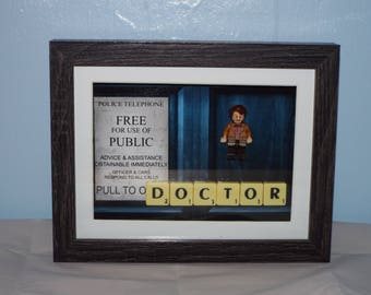 Doctor Who Matt Smith custom mini figure with scrabble tiles in a frame