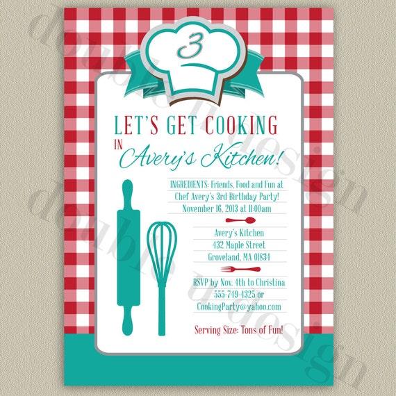 Opciones de COLOR Little Chef de cocina fiesta invitación