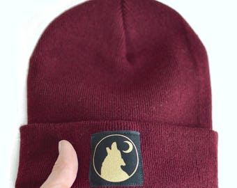 Wolf Hat, Beanie Hats, Gift For Him, Slouch Beanie, Beanies, Wolf Print, Gift For Her, Mens Beanie, Winter Hat, Beanie, Wolf Graphic