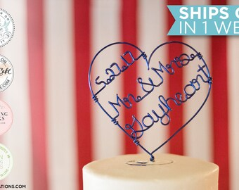 Personalized Heart Cake Topper / Custom Wire Cake Topper / Wire Heart Topper / Custom Name & Wedding Date Cake Topper / Personalized Topper