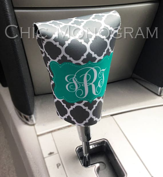 Monogrammed Gear Shift Cover Personalized Gear Shift Knob Cover Monogram Custom Gear Shifter Cover Cute Car Accessories for Women Sweet 16