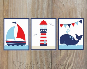 Nautical Nursery Decor - Sailing  Nursery Art - Boys Nursery Decor - Self Print 3 piece Set - Instant Download Jpeg Files