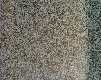 Fantastic 50s Deadstock White Glazed Cotton Fabric with Gold Embossed Jungle Scene and Animals 8+ yards!