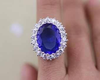 Engagement ring Kate Middleton ring and Prince William blue gemstone jewelry Halloween gift Christmas gifts R82A