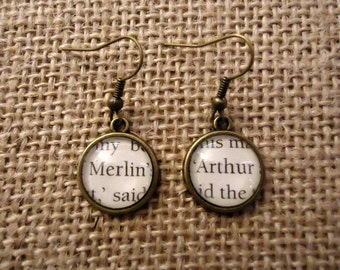 Merlin and Arthur Book Page Earrings