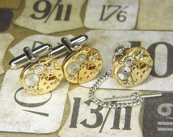 Steampunk GOLD Cuff Links Cufflinks w Tie Tack Lapel Pin - Torch Soldered - BULOVA Watch Movements w Original Crowns - Birthday Anniversary