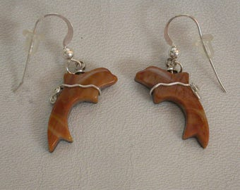Picasso Marble Dolphin Earrings with Sterling Silver Wire Wrap/ backed