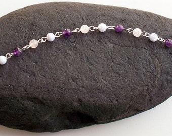 Pink and Purple Bracelet ~ Comfort Bracelet ~ Rose Quartz, Amethyst, Blue Lace Agate