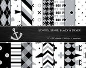 School Spirit Digital Paper Set -- Black & Silver, School Colors, Pep Rally, Homecoming, Scrapbook, Seamless -- Personal or Commercial Use