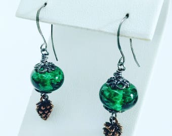 Holiday Green Lampwork Bead Earrings, Gunmetal and Antiqued Copper and Handmade Glass Bead Earrings, Artisan Glass Earrings with Pinecones
