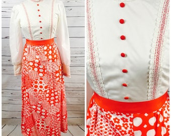 Small 70's red maxi dress - 70's small prairie dress- small gunne sax style dress - small 70's maxi dress