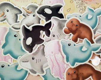 Sea friends Vinyl Glossy Sticker Set, Kawaii Stickers, Orca, Manatee, Jellyfish, Shark, Dolphin, Narwhal, ocean, creatures, cute