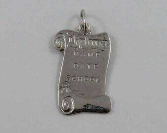 Diploma Sterling Silver Vintage Charm For Bracelet