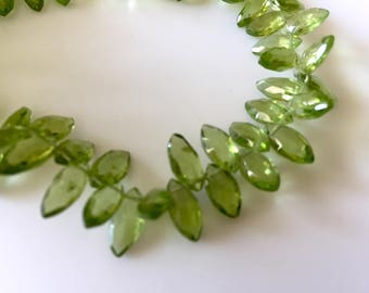 Natural Peridot Marquise Briolette Beads, Faceted Peridot beads, 5x9mm To 5x10mm Each, 8 Inch Strand, GDS809