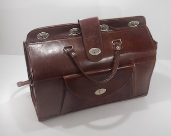 french Vintage Brown Leather Doctor Bag Style wide Weekend Travel Bag
