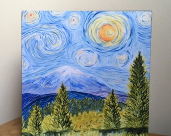 Mt. Baker, Pacific Northwest PRINT of original watercolor painting. Washington state, Stars and moon, mountain, Van Gogh inspired, wall art