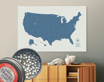 Vintage Push Pin USA Map (Storm) Travel Map Push Pin Map Gift Road Trip Map of the USA on Canvas Personalized Gift For Family Name Sign