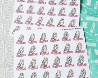 Owl Post ~ Hand Drawn, Happy Mail Tracking Planner Stickers