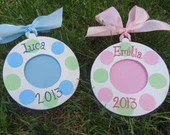 Personalized Custom Photo Ornament  Birth Announcement, Baptism, 1st Christmas, New Baby, Twins