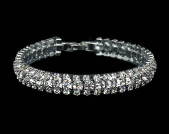 "Leah 3/8"" Clear Crystal Competition Bracelet for IFBB, NPC, and NANBF Bikini Fitness Bodybuilding Contests"
