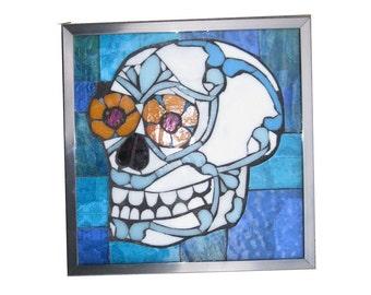 Day of the Dad Sugar Skull Art Glass Mosaic