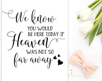 We Know You Would Be Here Today If Heaven Wasn't So Far Away Wedding memorial sign Memorial sign In loving memory Wedding decoration idwm77