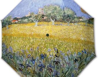 Foldable umbrella - Painter Van Gogh: field of flowers near Arles