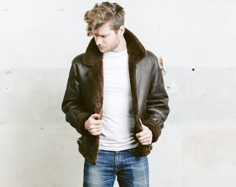 Vintage Sheepskin Men Jacket . Mens 70s Sherpa Coat Winter Leather Brown Jacket Outerwear Long Jacket . size Medium M