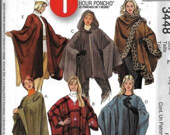 McCall's 3448 Poncho Cape Cloak 1 Hour Sewing Pattern UNCUT Size XL, XXL, 2XL
