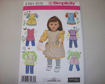 """New Simplicity 18"""" Doll Clothing Pattern, 2761 (Free US Shipping)"""