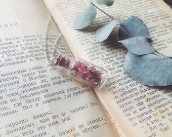 Pink floral necklace, Real flower, Botancal jewelry Wedding Bridesmaid necklace, Bride Bridal pendant, Dainty necklace, Terrarium necklace