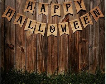 Happy Halloween Burlap Banner