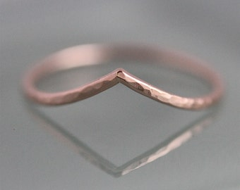 Chevron Wave 14k SOLID Rose Gold Wedding V Ring Hammered Stacking Band Ring Chevron Contoured Wave Shiny Finish Eco-friendly Recycled Gold