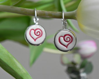 Porcelain Heart Dangle Earrings, Romantic Round Earrings, Red Heart Ceramic Jewelry in a Silver Color Brass Base, Best Friend Jewelry