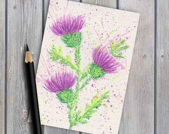 ACEO collectable giclee print Scottish thistles watercolour painting watercolor painting thistle print purple flower Scotland art print
