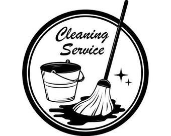 Cleaning Logo #3 Maid Service Housekeeper Housekeeping Clean Floor Mop Mopping .SVG .EPS .PNG Digital Clipart Vector Cricut Cutting Download