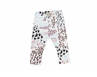 Field of Dreams Leggings in Mint Blue, Pale Pink, Rust and Black on White