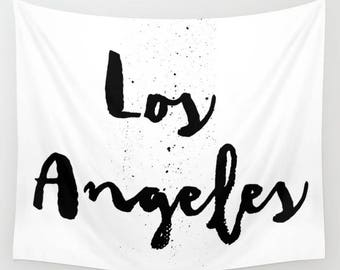 Los Angeles Tapestry, LA Wall Art, Los Angeles Wall Decor, Dorm Decor, Los Angeles Decor, Teen Room Decor, Black and White Wall Decor