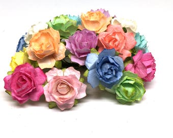 Bright Pastel Tattered Mulberry Paper Roses Tr025