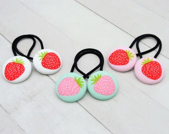 Strawberry Elastic Hair Tie, Strawberry Birthday, Fruit Accessory, Summer Gift, Strawberry Party Favor, Strawberry Pigtail Set, Hair Button