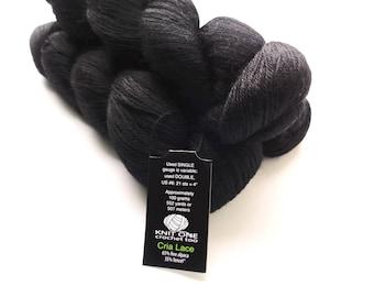 Knit One Crochet Too Cria Lace Yarn, Ebony 990 Black, Alpaca and Tencel Blend, Lace Weight Yarn, Black Lace Yarn, Tencel Yarn, Alpaca Blend