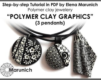 "Polymer clay tutorial ""POLYMER CLAY GRAPHICS -3 pendants"" pdf"