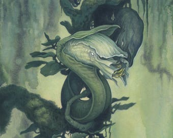 """8""""x10"""" Limited Edition lustre print """"Floral"""" / Watercolor, fantasy creature, surreal flowers, dark art, lowbrow, monsters, nature jungle"""