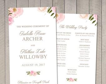 Vintage Floral Wedding Program (Printable) by Vintage Sweet