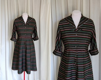 Festive Stripe Dress / Vintage 1950s Dress / Multicolor Striped Dress / Gold / Rhinestone Buttons / Size L
