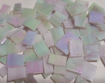 "Mosaic Tiles 1/2 - 1"" 100 pcs IRRIDESCENT LIGHT PASTEL Stained Glass Mosaic Tile"