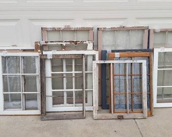Vintage Farm Windows Multi-Pane Chippy Paint