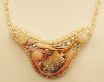 Bead Embroidered Necklace  with Shibori Silk Ribbon and Semi-precious Beads
