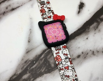 Combo!!!Black hello kitty case and print genuine leather band!!